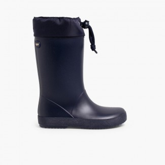 Adjustable high top wellington boots Navy Blue