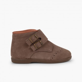 Suede and loop fasteners booties with decorative buckles Taupe
