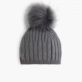 Faux fur bobble hat  Grey