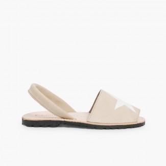 Nubuck Menorcan Sandals with Stars  Beige