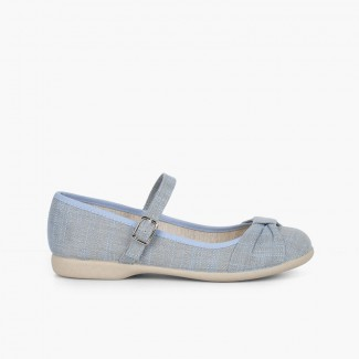 Girls' Ceremony Mary Janes with Bow and Buckle Closure Blue
