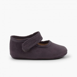Baby girl Serratex Mary Janes with velcro Grey