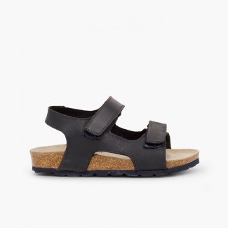 Eco leather sandals twin velcro Navy Blue