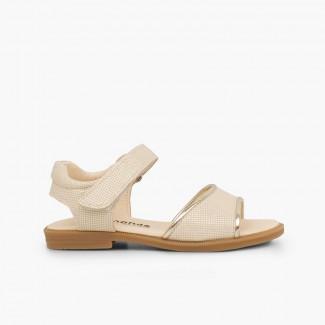 Shiny leather sandals girls velcro Beige