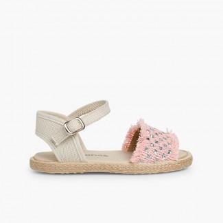 Girls' Sparkly Fringed Sandals Pink