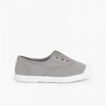 9f80e06132d Rubber Toe Cap Canvas Trainers Without Laces made in Spain