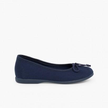 Canvas Ballerina Flats  Navy Blue