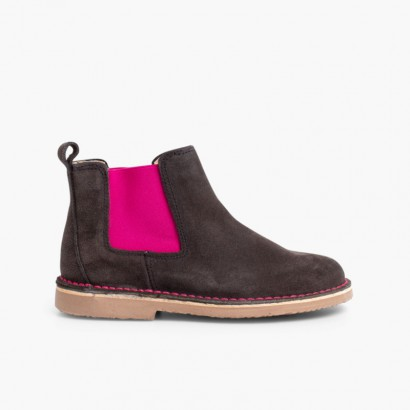 Suede Chelsea Boots with Coloured Elastic  Grey and  Pink