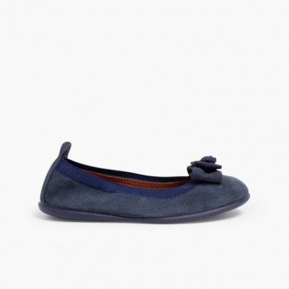Ballet Pumps with double bows for girls and women Navy Blue