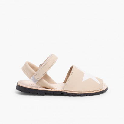 Nubuck Menorcan Sandals with Stars and Velcro Beige