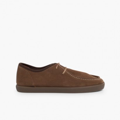 Suede deck shoes for children and adults Taupe