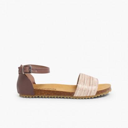 Snakeskin Print Bio Sandals  Taupe