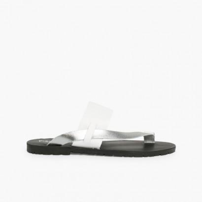 Metallic Leather Toe Post Sandal Silver