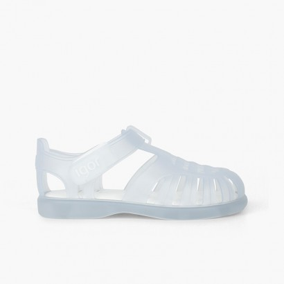 Basic jelly shoes with velcro tobby White