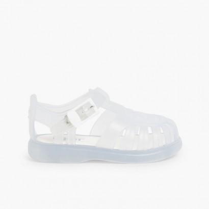 Plain Jelly Sandals White