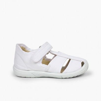Boys' loop fasteners T-Bar Sandals with Reinforced Toe White