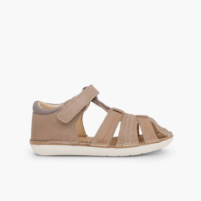 Leather sandals boys with velcro Taupe