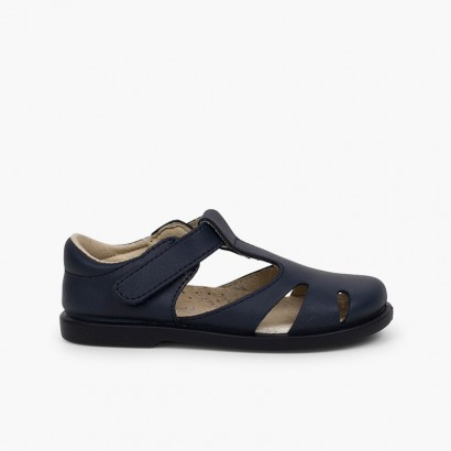 Boys' Leather T-bar Sandals with Velcro Navy Blue