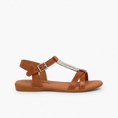 Sandals with Padded Insole and Silver Embellishment Leather
