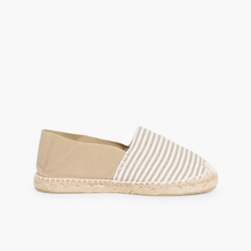 Kids & Adults Striped Two-coloured Espadrilles  Sand