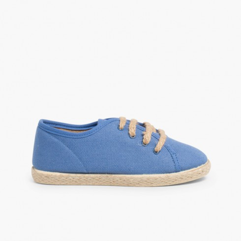 Espadrille style shoes with laces Blue