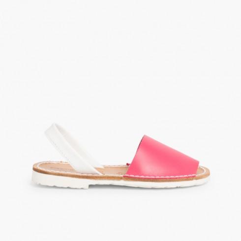 Kids Two-Tone Nappa Menorcan Sandals - Special Edition White Sole Fuchsia