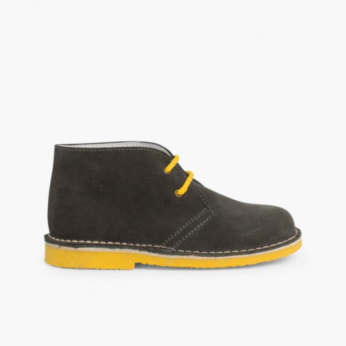Safari Desert Boots with Coloured Laces  Grey and Mustard