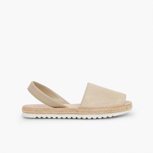 Menorcan sandals Girls and women avarcas shiny suede Beige