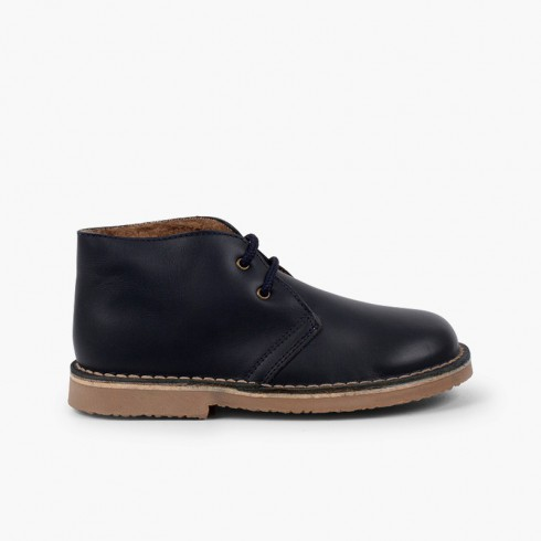 Safari Boots leather Laces Wool Inner Lining Navy Blue