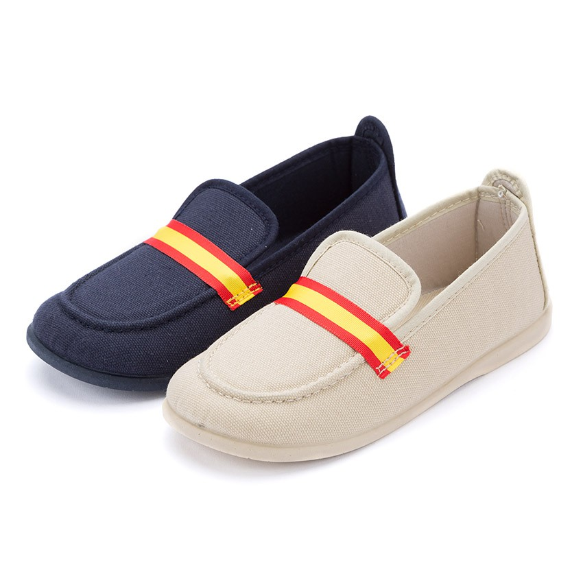 Boys Coloured Band Canvas Loafers Big Sizes