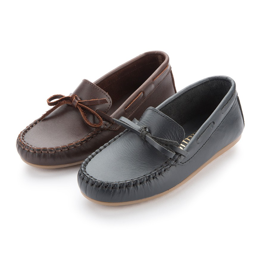 Boys Leather Ribbon Moccasins