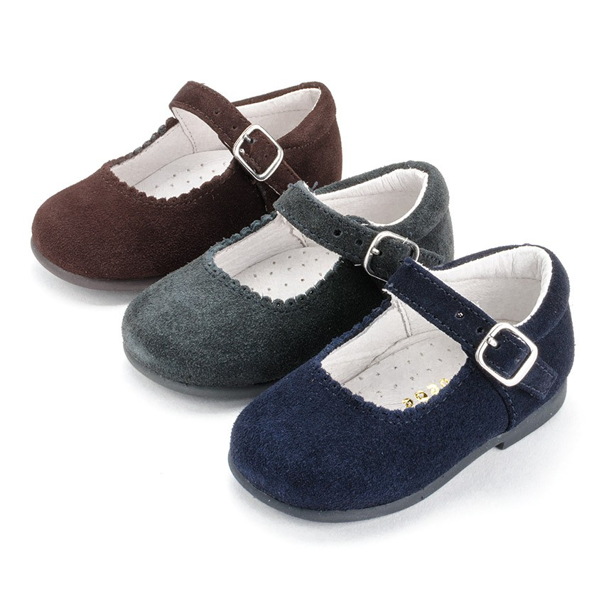 Girls Buckle Up Suede Mary Janes