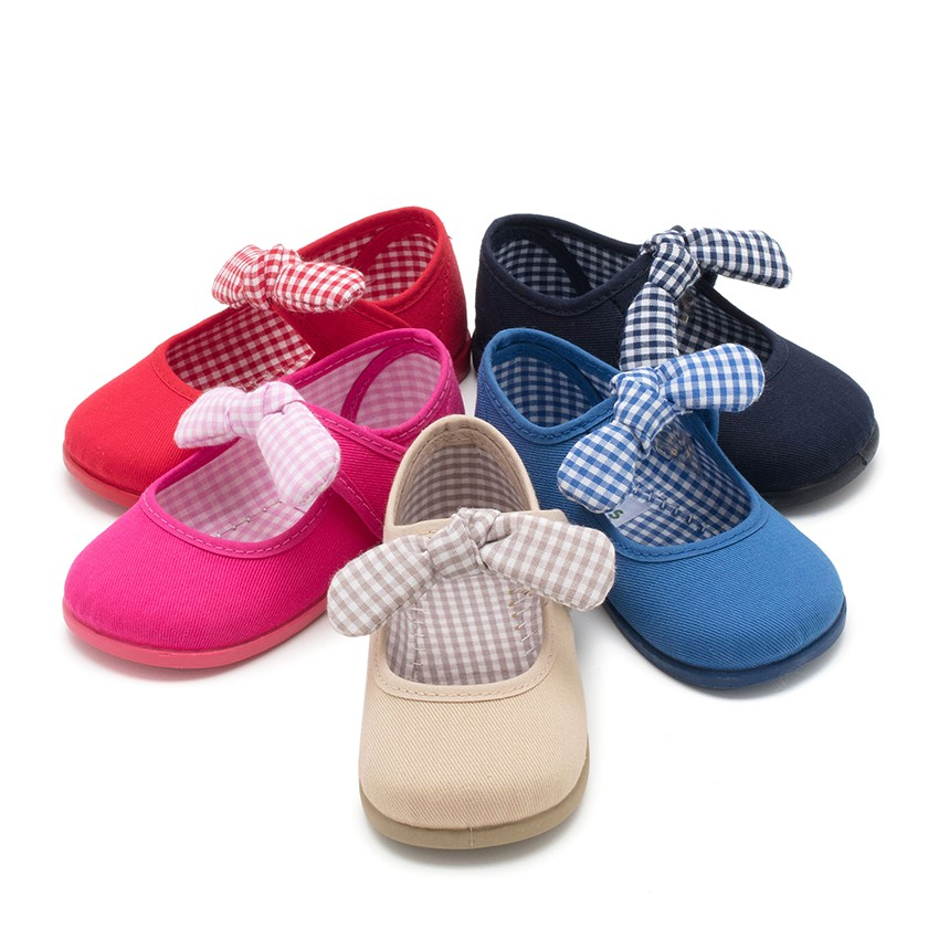 Canvas Velcro and Gingham Bow Mary Janes