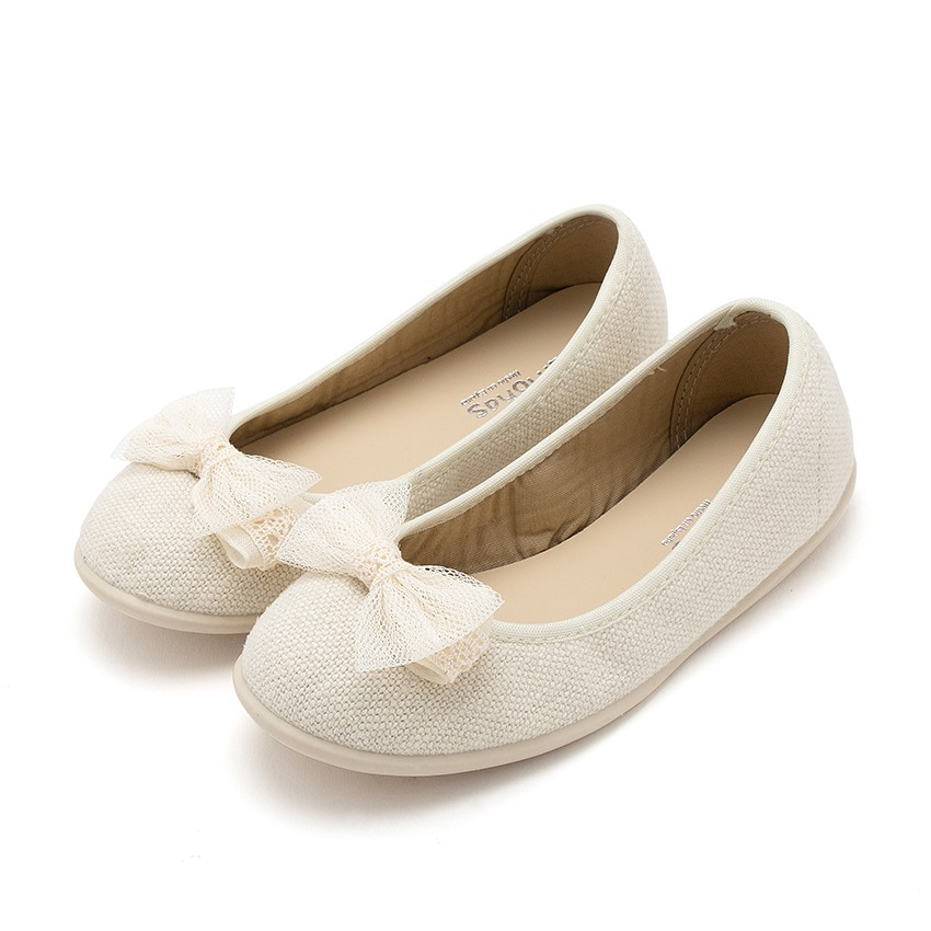 Canvas Ballerinas with Tulle Bow