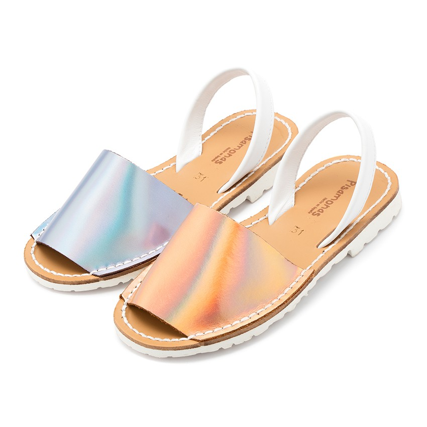 Kids Mirror Nappa Avarca Menorcan Sandals - Special Edition White Sole