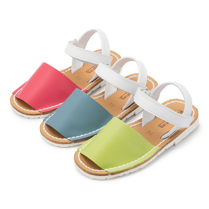 Kids Two-Tone Avarca Menorcan Sandals with loop fasteners - Special Edition White Sole