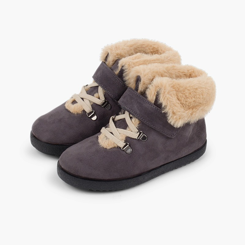 Girls fur boots with loop fasteners and chevron sole