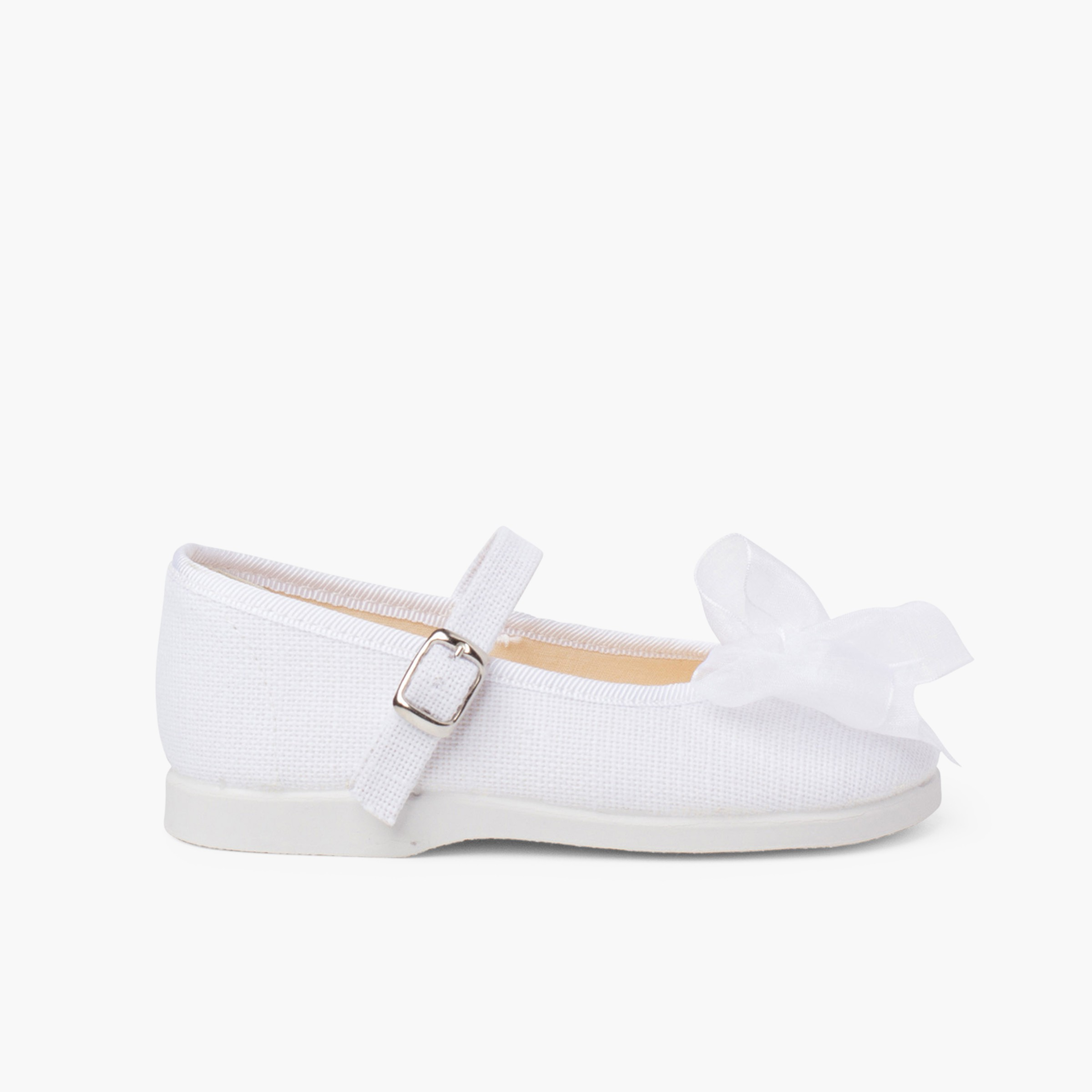 Organza Bow Buckle Linen Mary Janes