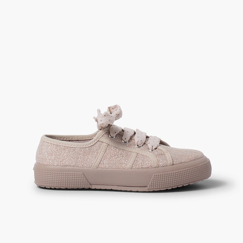 Shiny linen trainers for women and girls