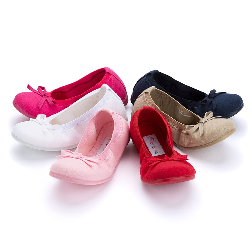 Canvas Ballet Flats with Ribbon