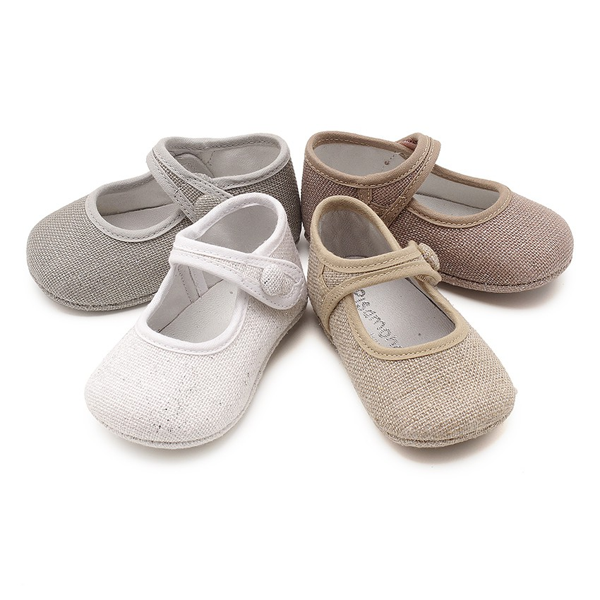 Mary Jane Booties Linen Velcro