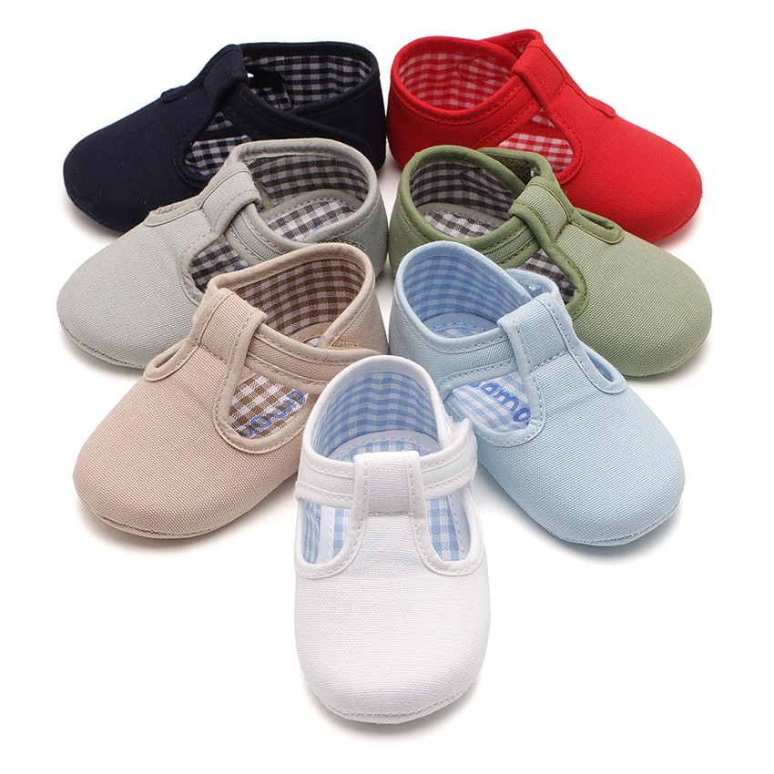 Baby Boys Canvas T-Bar shoes with loop fasteners