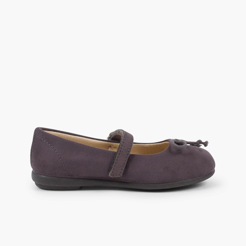 Ballet Flats with Velcro and Mary Jane-Style Bow