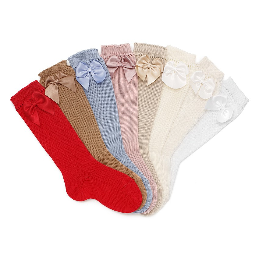 CONDOR Pointelle High Socks with Bow