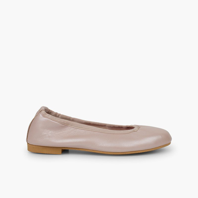 Pearlescent Leather Ballet Flats for Women and Girls