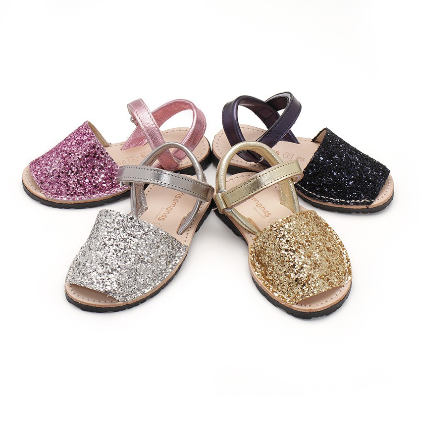 Glitter Menorcan Sandals with Velcro fastening