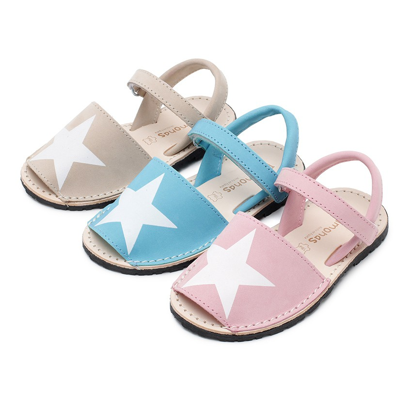 Nubuck Menorcan Sandals with Stars and loop fasteners