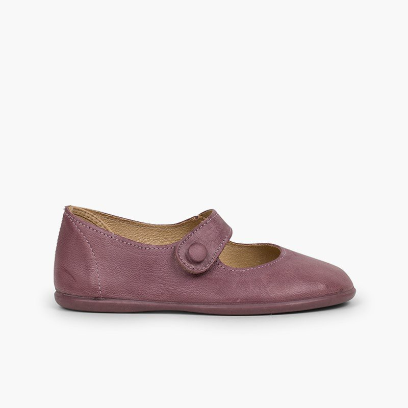 Girls' Leather Mary Janes with Velcro and Button