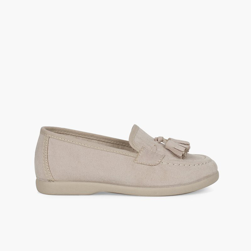 Faux suede moccasins with tassels