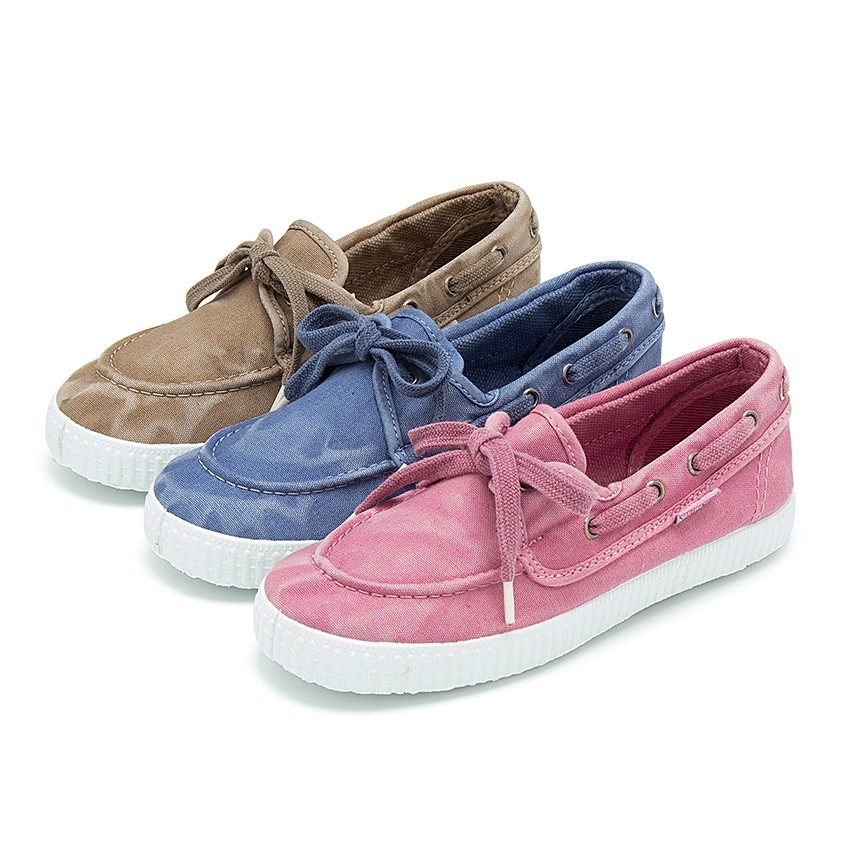 Canvas Boat Shoes with White Soles